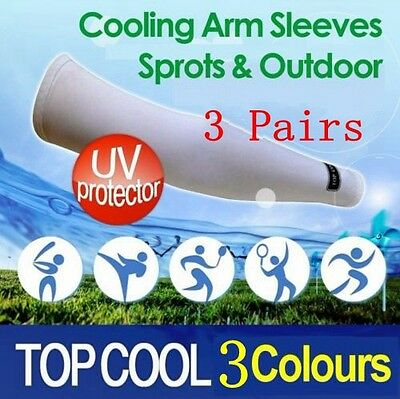 3 Pairs Arm Sleeves Sun Block UV Protection Cooling Sports Outoors