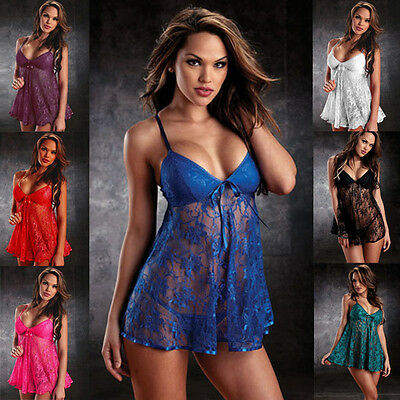 BABYDOLL Intimate Sleepwear Night Robe Chemise Dress Lingerie G-string M medium