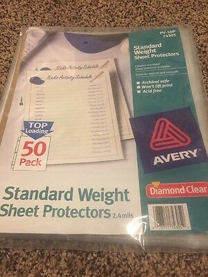Avery Diamond Clear Page Size Standard Weight Sheet Protectors, 50 Pack (74305)