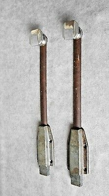 Pair  french OLD  iron Sliding  Latch Lock Door BOLTS,steel, furniture