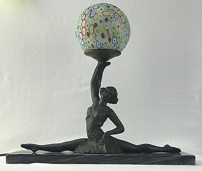 """Antique Lamp """"Lady with the lamp"""" Art Deco with Millefiori ball"""