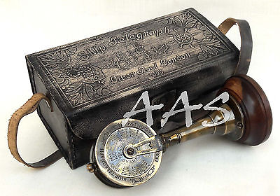 "Antique Brass Telegraph 7"" Collectible Ship's Engine Telegraph With Leather Case"