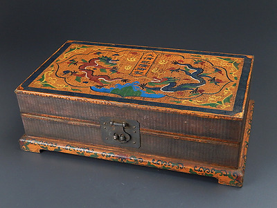 Chinese Qing Dynasty Wooden Box signed 大清乾隆御製 Qianlong / W 22× D39× H 11 [cm]