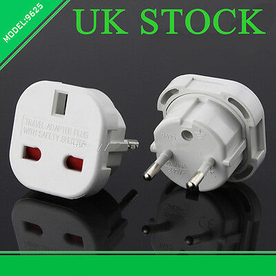 UK Travel Plug 3-Pin To EU European Euro Europe 2-Pin Socket Converter Adapter