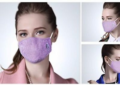 Stop Asthma Flu Pollution, Patented Antibacterial Cotton Mask with PM2.5 Filters