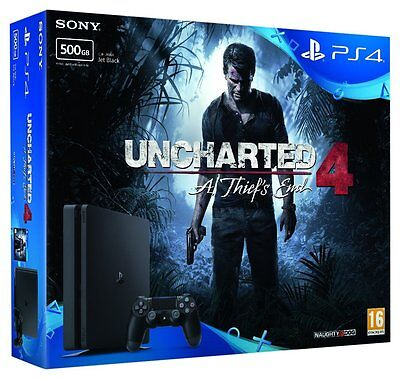 Sony PlayStation 4 Slim UNCHARTED 500GB Black Console New Bundle FREE SHIPPING