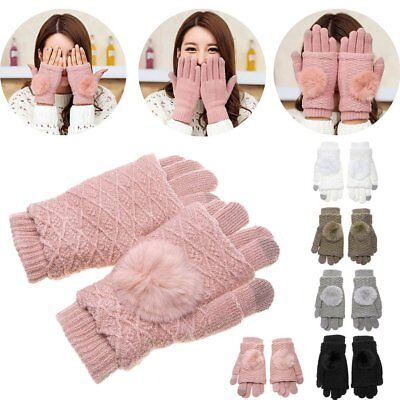 Fashion Pompon Phone Touch Screen Gloves Thick Wool Knitted Women Winter Mittens