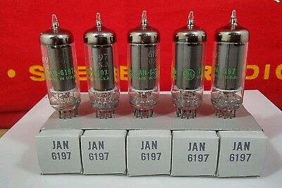 JAN 6197 / 6CL6 Sleeve of 5 NOS GE Gray Plate O Getter Tubes Hickok Tested 100+%