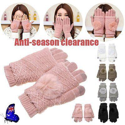 NEW Pompon Phone Touch Screen Gloves Thick Wool Knitted Women Winter Mittens BU
