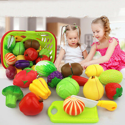 24 Pcs Plastic Cutting Fruit Vegetable Pretend Role Play Pizza Kitchen Kids Gift