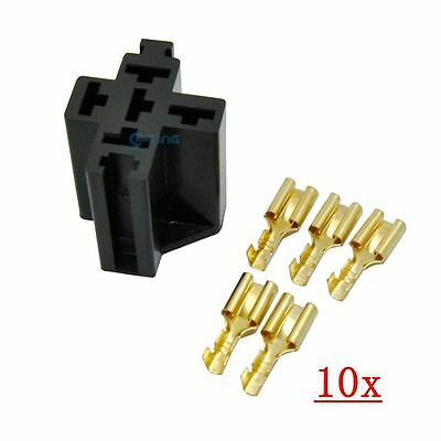10x 5 Pin Relay Socket Connector 12V 30Amp 40Amp 6.3mm for Car Truck Terminal ET