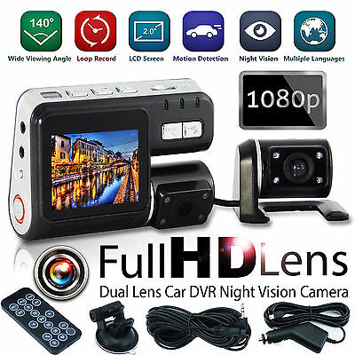 New 1080P HD 2.7? Dual Lens Vehicle CAR DVR Video Dash Camera Recorder UK