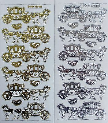 Double Embossed Clear Horse & Carriage Wedding Rings PEEL OFF STICKERS Coach