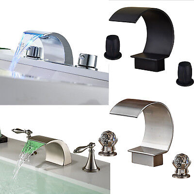 Bathroom Sink Faucet Widespread Waterfall Tub Brass Mixer Tap 3 Hole