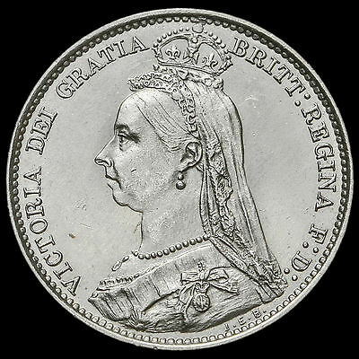 1890 Queen Victoria Jubilee Head Silver Sixpence, Scarce, A/UNC