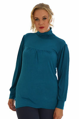 New Womens Plus Size Top Ladies Polo Neck High Shirt Elasticated Cuffed Nouvelle