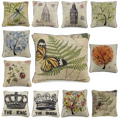 Insect Vintage Cotton Linen Pillow Case Cover Throw Cushion Weather Archit