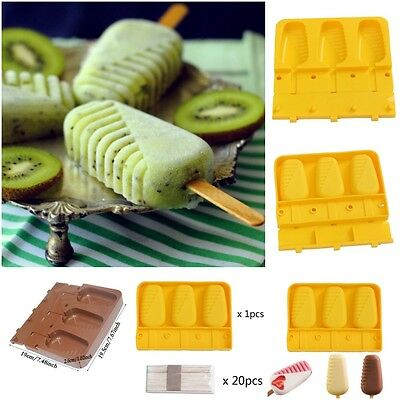 1SET Silicone Original Shape Moulds With Stick For Healthy Ice Cream Parfait Hot