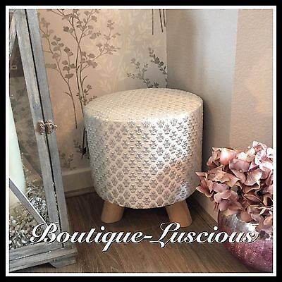 Silver Sparkle Fabric Footstool Girls Seat Bedroom Chair Wooden Legs Next Day