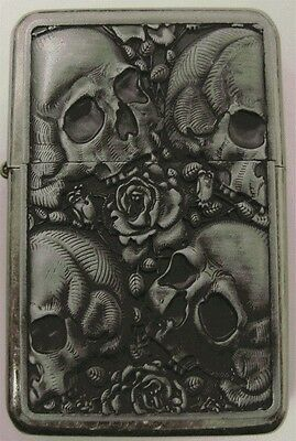 Skulls Design Star Petrol Lighter In Gift Tin