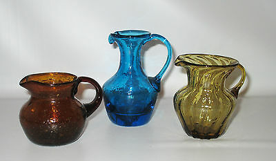 Art Glass Mini Pitchers Lot 3 Cobalt Blue Crackle Amber Bubble Swirl Hand Made