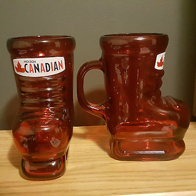 Set of Two (2) MOLSON CANADIAN Red Skate Beer Pint Glass Pair of Mugs