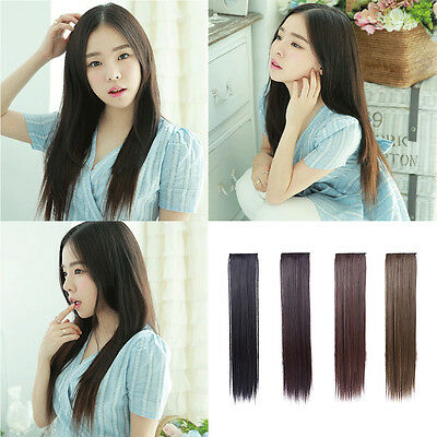Ladies Natural Long Straight Ponytail Hair Extension 2 Clip Hair Piece