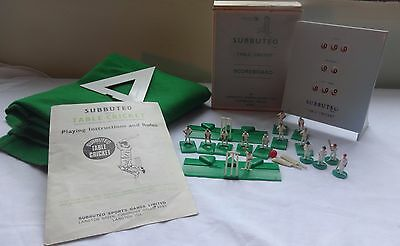 Vintage 1970's Subbuteo Cricket accessories, players, pitch, scoreboard,