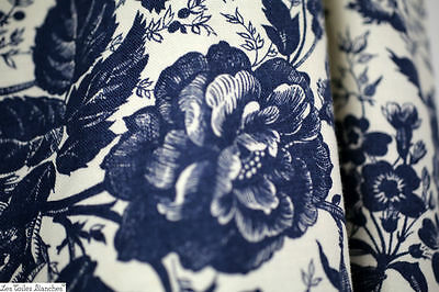 Vintage French LARGE curtain FLORAL blue INDIGO cotton DOUBLE SIDED c1950