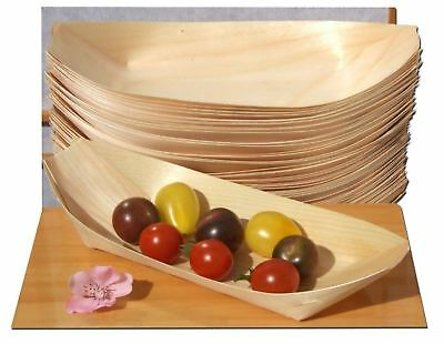 KRAFTZ® 50 Pc Bamboo Wood Boats Disposable Tableware Party Snacks 190 x 95mm