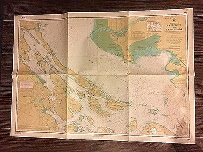 Vintage 1973 Canada BC Nautical Map Chart #3450 Eastpoint to Sand Heads