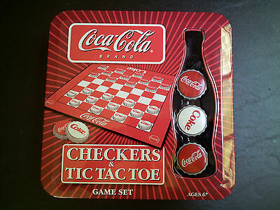 2005 Coca Cola Coke Checkers & Tic Tac Toe Game Set Tin Box