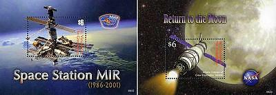 ST.VINCENT 1999 SPACE STATION / BACK to MOON x2 S/S  MNH CV$9.00 ASTRONOMY