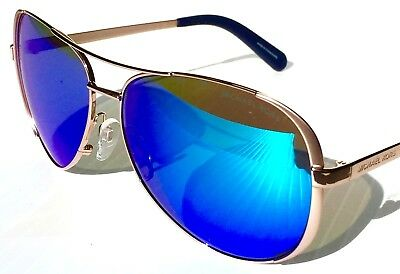 NEW* MICHAEL KORS AVIATOR 59mm Rose Gold w BLUE Lens Chelsea Sunglass MK5004