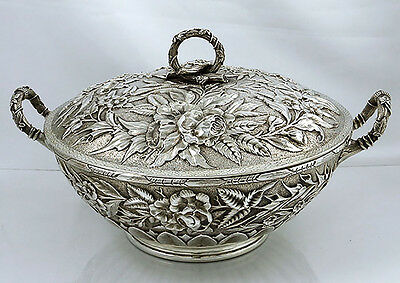 Bailey & Co. American REPOUSSE Sterling Covered Entree Dish TUREEN 33 oz