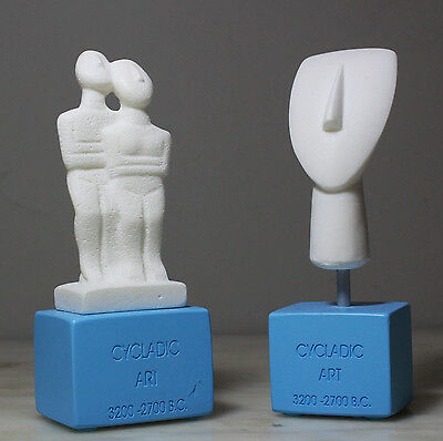 Set Ancient Cycladic Art Greek Handmade Museum Copy Alabaster Statue 14cm/5.5""