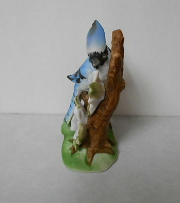 Porcelain Blue Jay on a Branch Figurine