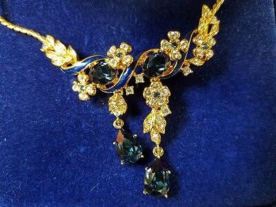 Camrose & Kross Jacqueline Kennedy faux Sapphire Gold plated  Necklace