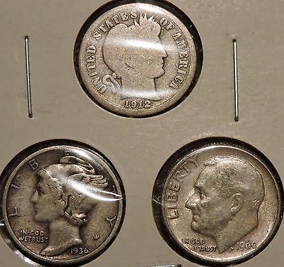 Silver Dimes - Type Set of 3 - 1912 / 1936 / 1960 - $1 Unlimited Shipping -Y70