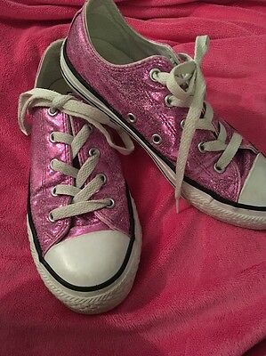 💖Converse All Star Girls Pink Glitter Pumps/ Trainers  Size 2(34)💖