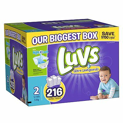 Luvs Ultra Leakguards Diapers, Size 2, 216 Count *FREE SHIPPING*
