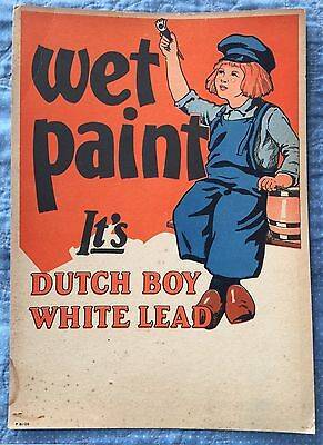 Vintage 1940's Dutch Boy Wet Paint White Lead Sign Rare Nice Advertising Poster