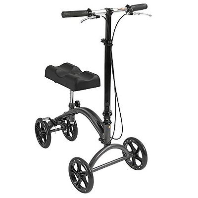 Knee Walker Scooter Drive Steerable Medical Crutch Brake Foldable Aluminum