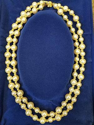 Camrose & Kross Jacqueline Kennedy Double Strand Pearl 24k Gold plated Necklace