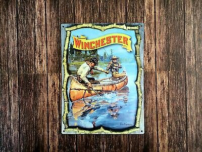 Tin Sign Vintage Fishing Winchester