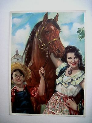 Vintage Small Mexican Print w/ Proud Brown Horse w/ Lovely Woman & Boy*
