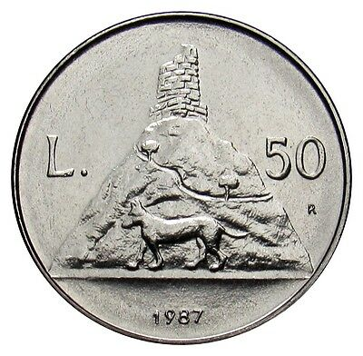 San Marino 50 Lire coin 1987 KM#206 UNC 15th Anniv. Resumption of Coin dog -