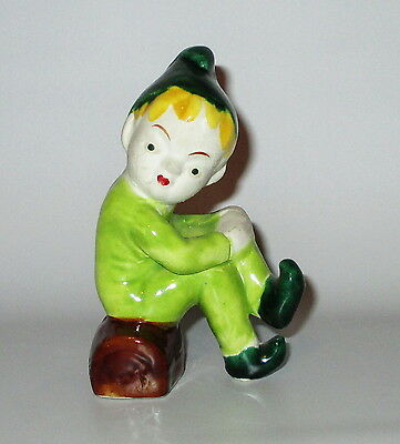 Elf Pixie On Log Figurine Matte Face Green Glaze Homely Little Fellow Needs Love
