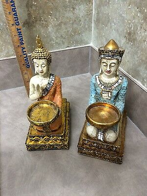 A Pair Of Buddha Statue Kneeling Mark Roberts