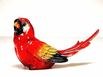 "Red Parrot Bird Figurine Perched on Tree Branch Yellow Flower 8.75/"" High New"